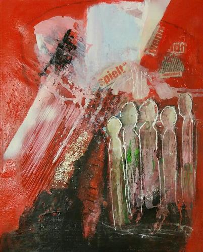 Margret Obernauer, Bowling, Abstract art, Game, Neue Wilde, Abstract Expressionism