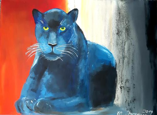 Margret Obernauer, Schwarzer Panther, Animals, Animals: Land, Naturalism