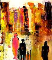 Margret-Obernauer-People-Group-Abstract-art-Modern-Age-Expressionism-Abstract-Expressionism