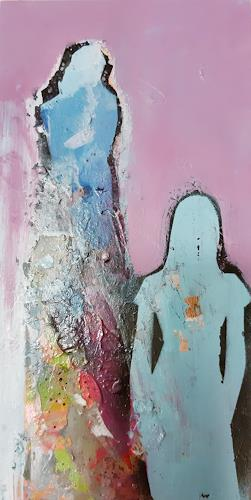 Margret Obernauer, Blue Woman, People: Group, People, Art Déco, Abstract Expressionism