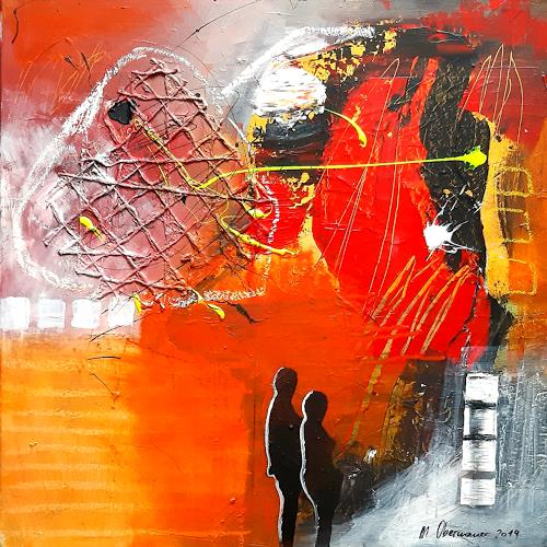 Margret Obernauer, Vernetzt, People: Couples, Abstract art, Abstract Art, Expressionism