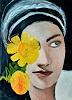 Margret Obernauer, Frau mit gelben Blumen