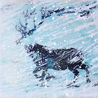 Margret-Obernauer-Landscapes-Winter-Animals-Land-Modern-Age-Primitive-Art-Naive-Art