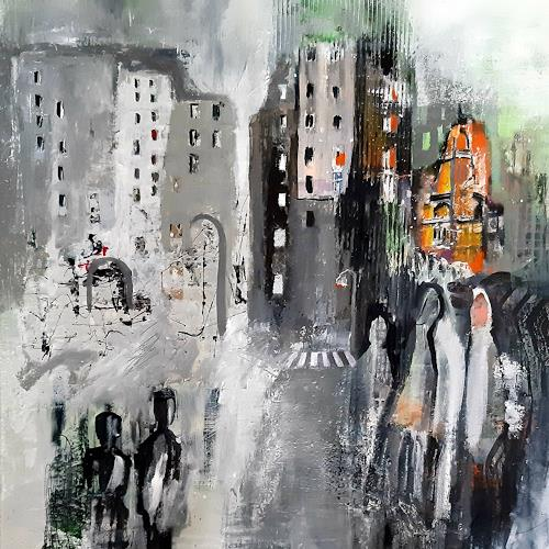 Margret Obernauer, Stadtbesucher, Emotions: Joy, Abstract art, Abstract Art, Abstract Expressionism