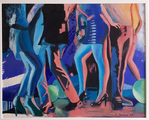 Margret Obernauer, Partytime, Emotions: Joy, People: Group, Photo-Realism, Abstract Expressionism