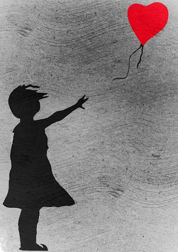 Keep Magic, Girl with balloon (a tribute to Banksy), People: Children, Emotions: Love, Contemporary Art, Expressionism