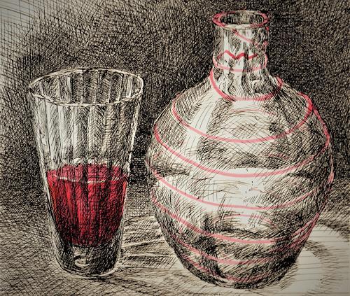 Susanne Thäsler-Wollenberg, Flasche und Glas, Still life, Burlesque, Expressive Realism