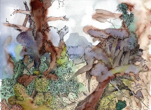 Susanne Thäsler-Wollenberg, Alter Wald, Landscapes, Fantasy, Expressionism