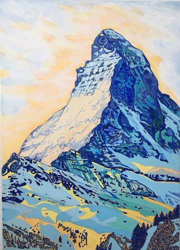 Madeleine Schertenleib, Matterhorn, Landscapes: Mountains, Expressive Realism, Expressionism