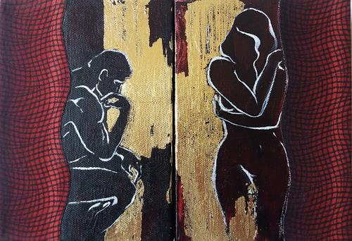 Nora Block, Eden. Anfang, People: Couples, Nude/Erotic motifs, New Image Painting, Abstract Expressionism
