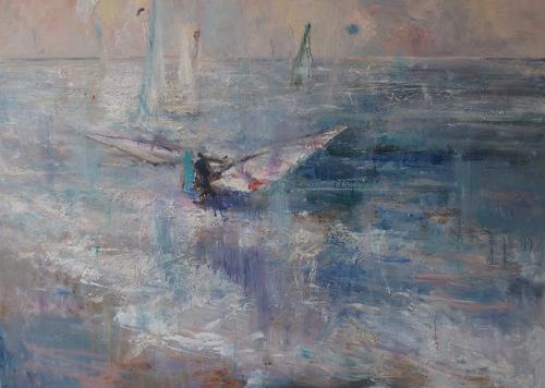 Natalia Simonenko, Blaue Sonne, Landscapes: Sea/Ocean, Romanticism, Abstract Expressionism