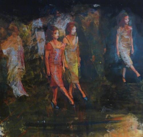 Andreas Lochter, der Tanz ist bald ein Marsch, fast ein Gleichschritt, People: Group, Contemporary Art, Abstract Expressionism