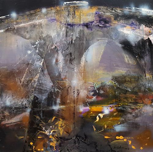oneiricgallery, LARGE FRAMED ACRYLIC ABSTRACT LANDSCAPE MINDSCAPE LIGHTSCAPE THE NIGHT SECRET GARDENS BY O KLOSKA, Abstract art, Landscapes: Autumn, Action Painting, Abstract Expressionism
