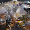 oneiricgallery, LARGE FRAMED ACRYLIC ABSTRACT LANDSCAPE MINDSCAPE LIGHTSCAPE THE NIGHT SECRET GARDENS BY O KLOSKA