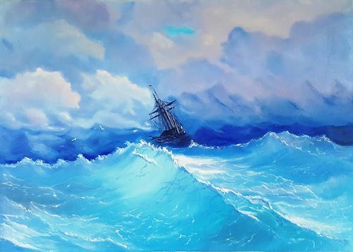 Alla Alevtina Volkova, Storm Painting -  Copy Of I K Aivazovsky Storm, Nature: Water, Verkehr: Ship, Abstract Art, Expressionism
