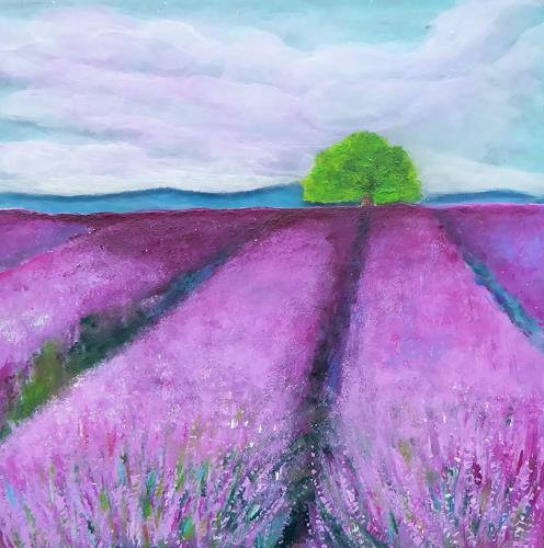 Claudia Irene Carmen Simon, Lavendelfeld, Landscapes: Summer, Plants: Flowers, Modern Age