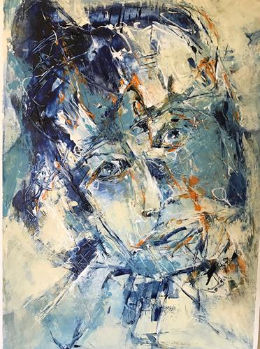 Rita Simon-Reinecke, Kopf Serie Blau/Orange, People: Women, Abstract Art