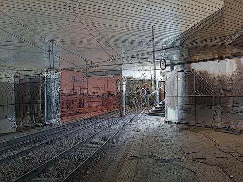 Eva-Caroline Dornach, Gleis 16, Traffic: Railway, Decorative Art, Contemporary Art, Abstract Expressionism