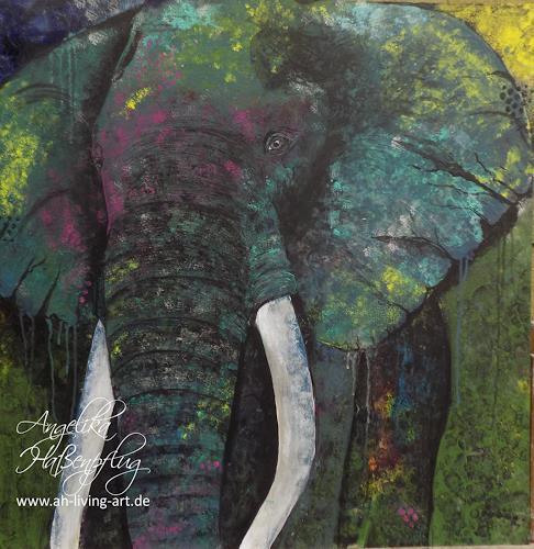 Angelika Haßenpflug, Elephant, Animals: Land, Abstract art, Abstract Expressionism, Expressionism