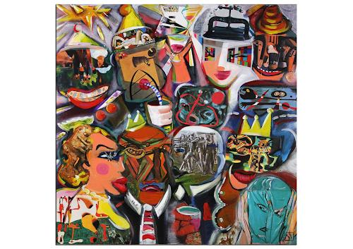 Andreas Garbe, K. Namazi: Karneval Party, People: Faces, Carnival, Neo-Expressionism