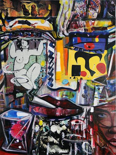 Andreas Garbe, The Thinker III, People, Fantasy, Neo-Expressionism, Abstract Expressionism