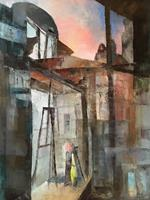 O. Scheck, Im Atelier