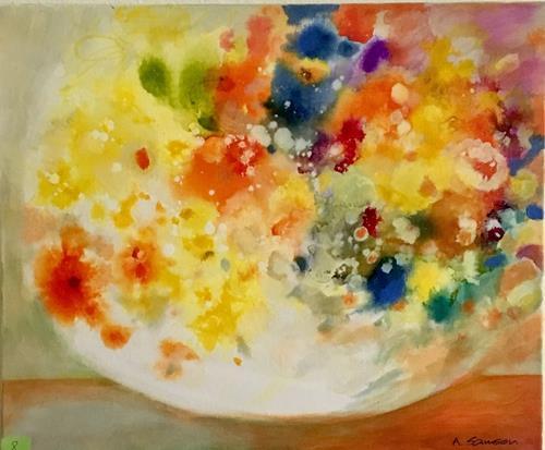 anne samson, yellow flowers, Plants: Flowers, Plants, Impressionism, Expressionism