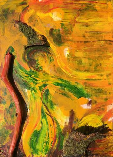 Ruth Loewenkamp, Herbstfrau, Landscapes: Autumn, People: Women, Abstract Art