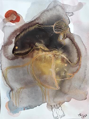 Marie Ruda, Monotypie-5;Und es gibt einen Traum., Fantasy, Abstract art, Abstract Art