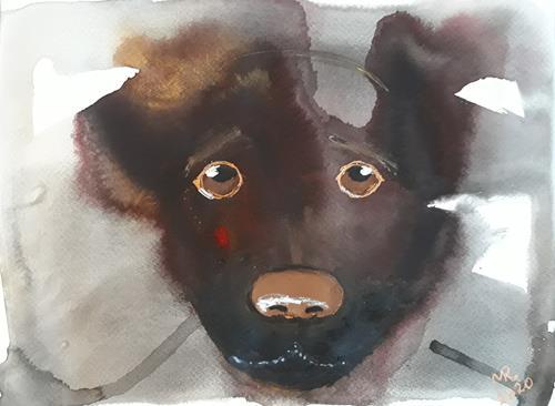 Marie Ruda, Monotypie-4;Traurig Augen., Animals, Animals: Land, Modern Age