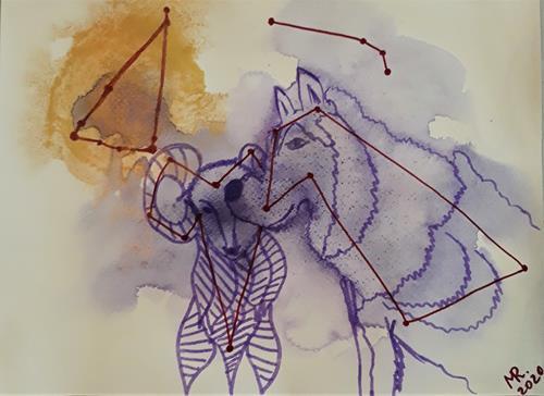 Marie Ruda, Monotypie-6;Tierkreiszeichen., Animals, Animals, Modern Age