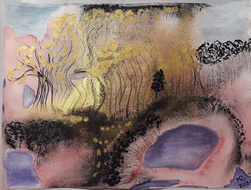 Marie Ruda, Monotypie-7. Goldener Wald., Landscapes: Autumn, Nature: Wood, Land-Art, Expressionism