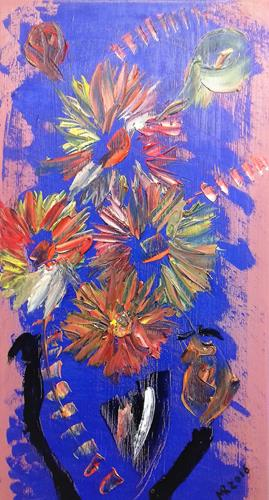 Marie Ruda, Blumen in der Vase., Plants, Abstract art, Abstract Expressionism