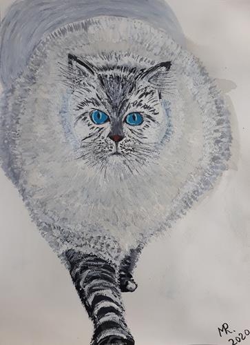 Marie Ruda, Meine gute alte graue Katze., Miscellaneous Animals, Animals, Realism