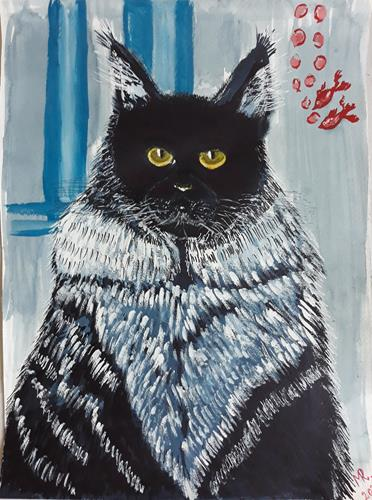Marie Ruda, Blaue Katze Maine Coon., Miscellaneous Animals, Animals, Realism