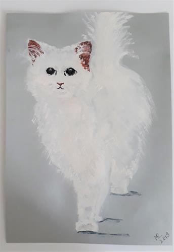 Marie Ruda, Schneeweiße Katze., Animals: Land, Miscellaneous Animals, Classicism