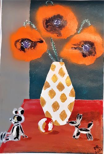 Marie Ruda, Stilleben-014., Plants: Flowers, Still life, Art Déco, Expressionism