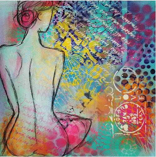 Silvia Plüss, N/T, Erotic motifs: Female nudes, Contemporary Art, Expressionism