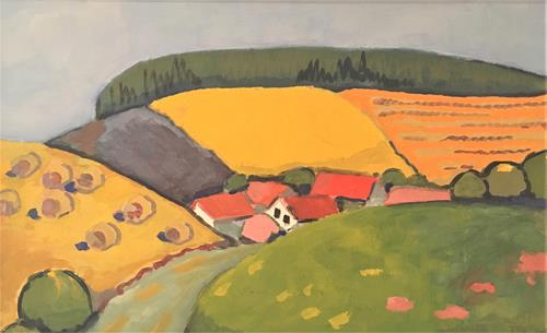 Joachim Tatje, Erntezeit, Landscapes: Hills, Decorative Art, Neo-Expressionism, Expressionism