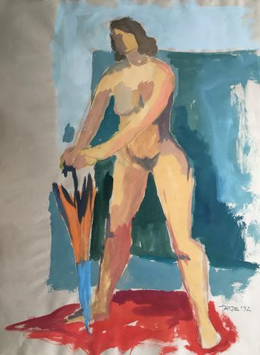 Joachim Tatje, Stehende mit Schirm, People: Women, Erotic motifs: Female nudes, Expressive Realism