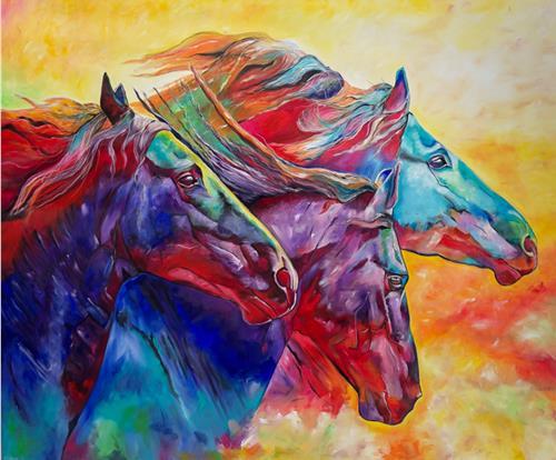 Sabrina Seck, power of horses, Animals: Land, Abstract art, Abstract Expressionism, Expressionism