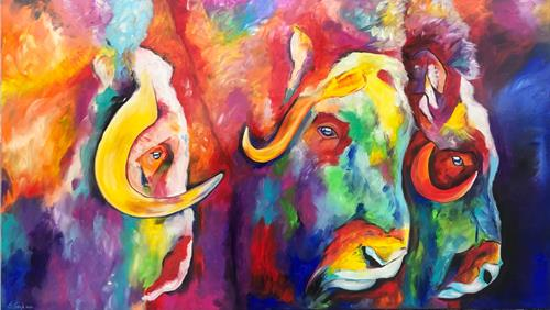 Sabrina Seck, die Drei, Abstract art, Animals: Land, Contemporary Art, Abstract Expressionism