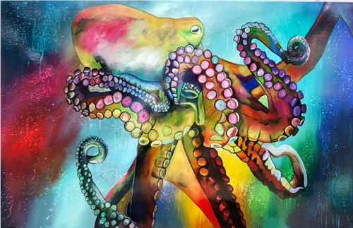 Sabrina Seck, Oktopussi, Abstract art, Animals: Water, Contemporary Art
