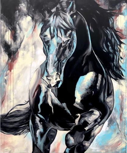 Sabrina Seck, dark beauty, Fantasy, Animals: Land, Contemporary Art, Abstract Expressionism