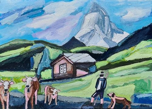 Peter Seiler, Kühe beim Matterhorn, Landscapes, People, Concrete Art