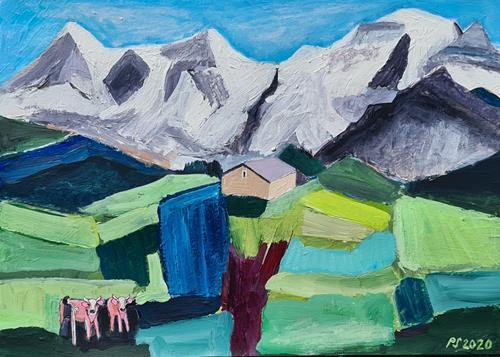 Peter Seiler, Eiger, Mönch und Jungfrau Kulisse - 2020, Landscapes: Mountains, Animals: Land, Contemporary Art