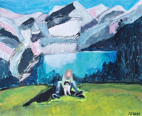 Peter Seiler, Fynn und Kay am Oeschinensee, People: Women, Landscapes: Mountains, Concrete Art