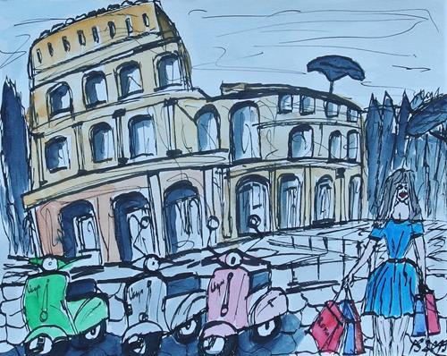 Peter Seiler, Urban sketch Rome, Miscellaneous Landscapes, Interiors: Cities, Contemporary Art