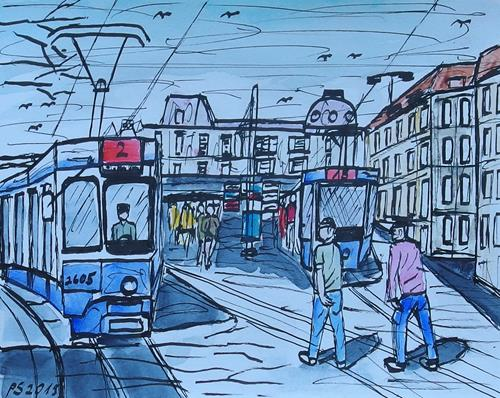 Peter Seiler, Urban sketch Bellevue Zürich, Miscellaneous Landscapes, Contemporary Art