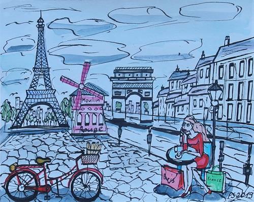 Peter Seiler, Urban sketch Paris, Miscellaneous Landscapes, Contemporary Art